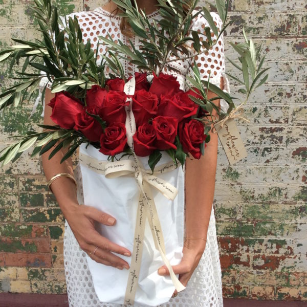 Washable Paper bag. Red roses
